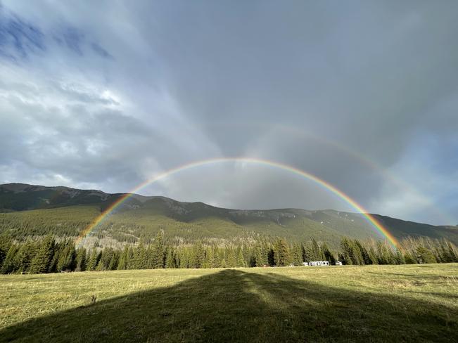 Double rainbow!! Maycroft, Alberta, CA
