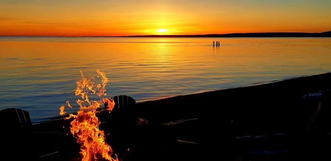 Beach fire North Bay, ON