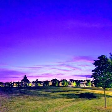 Purple skies.