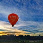 The Jack FM Hot Air Balloon in flight