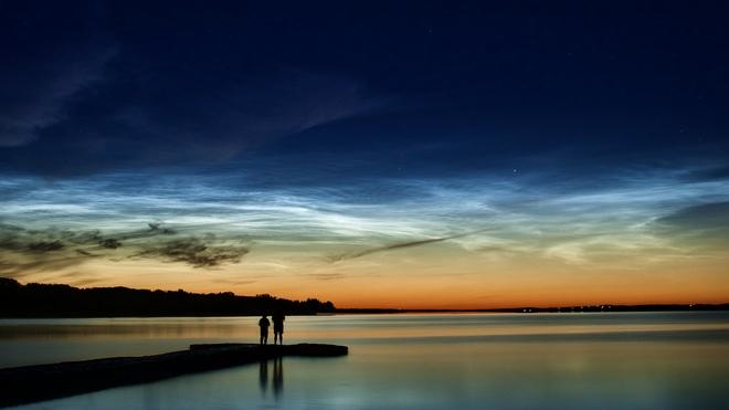 Noctilucent clouds Gull Lake, Alberta, Canada