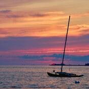 Oliphant and the Fishing Island summer sunset