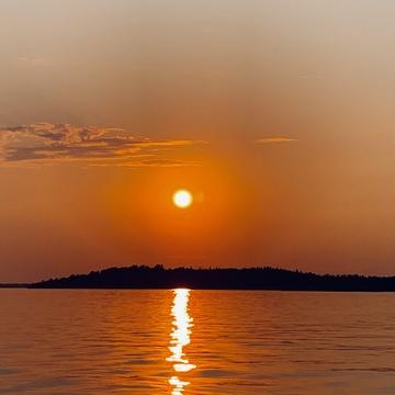 Sunset on beautiful lake of the woods