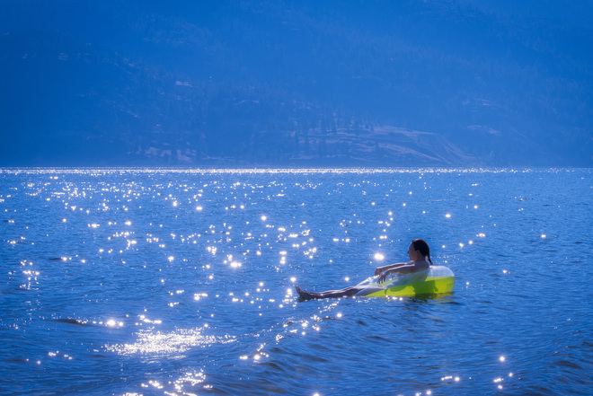 Floating On Glimmering Diamonds Skaha Lake, British Columbia