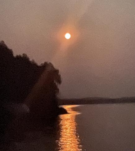 July Full moon Cameron Falls, Ontario, CA
