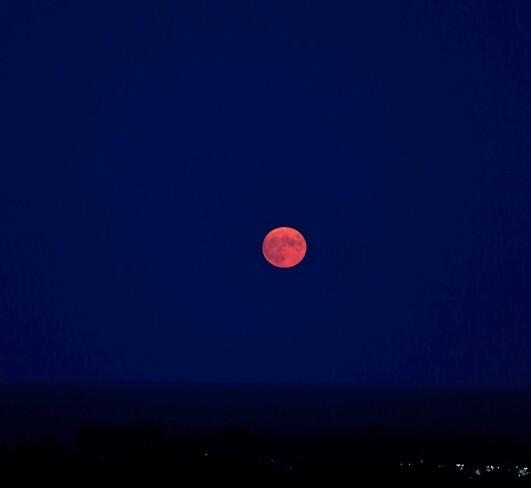 August Full Moon Over Lake Ontario Toronto, ON