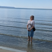 Getting her feet wet on Wasaga beach