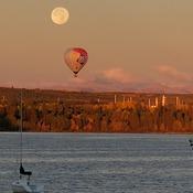 Fullmoon a hot air balloon over glemore resovoir