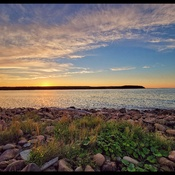 sunset over Chéticamp Island