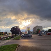 sun set through the clouds