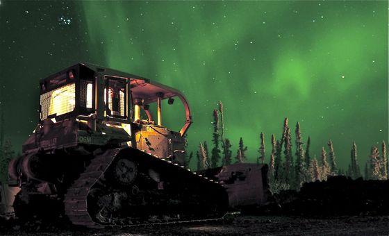 Dozer Under Northern Lights