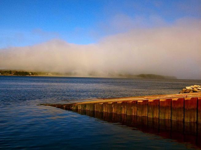 fog banks over the water Bridgewater, Nova Scotia Canada