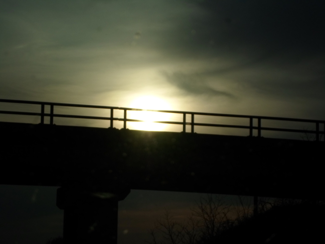 Sun setting and a Bridge on the Hyw