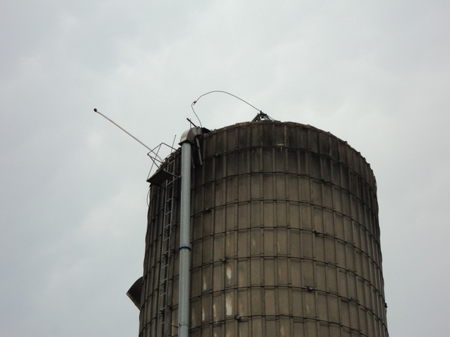 Silo top ripped off in Storm Dalston, Ontario Canada