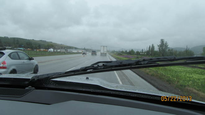 Windshield wipers slappin time, and holding Bobby's hand in mine, we sang up eve Vernon, British Columbia Canada