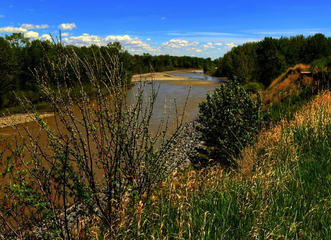 Sheep River in Okotoks - Swollen but not flooding Okotoks, Alberta Canada