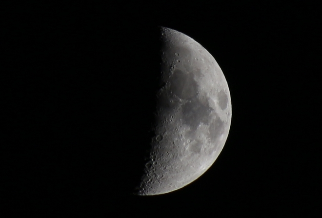 First Quarter Moon - 45% of Full Prince George, British Columbia Canada