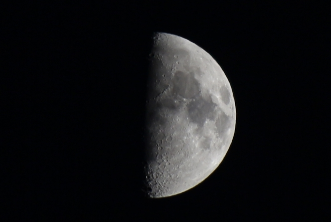 First Quarter Moon - 55% of Full Prince George, British Columbia Canada