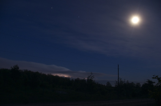 Moon & Lightning Clouds Collingwood, Ontario Canada