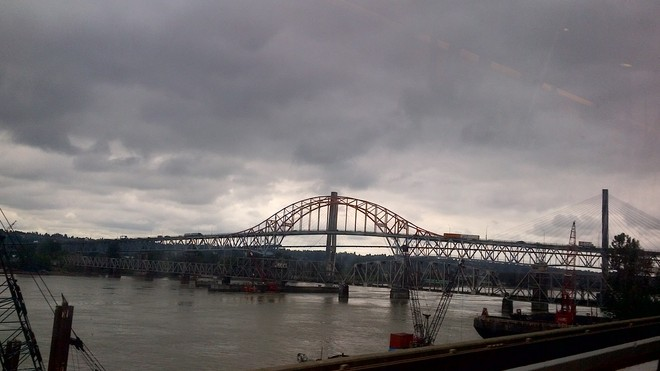 Pattullo Bridge on a cloudy day New Westminster, British Columbia Canada