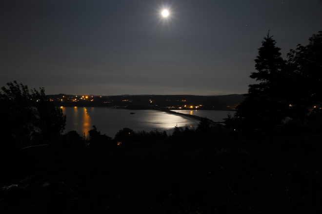 Moon reflecting light on the bay. Bay Roberts, Newfoundland and Labrador Canada