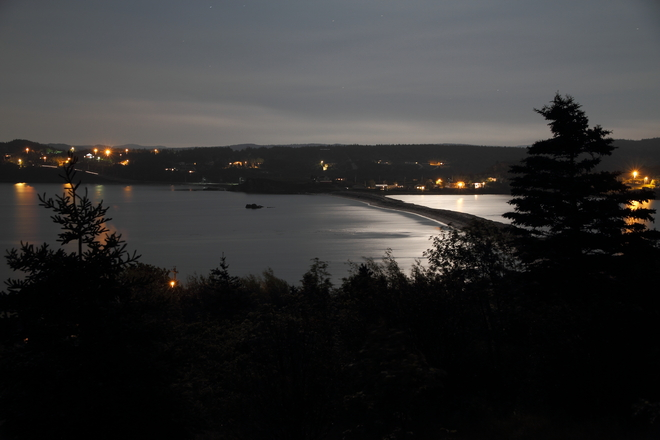 Moonlight flooding the bay. Bay Roberts, Newfoundland and Labrador Canada