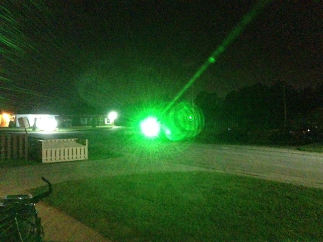 Night fog and green laser fun Kapuskasing, Ontario Canada