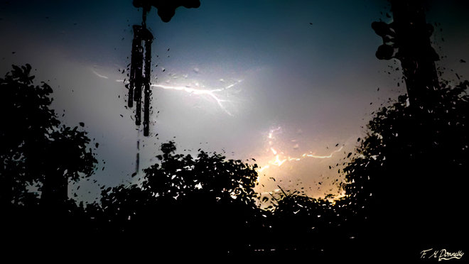 Lightning during yesterday's storm Smiths Falls, Ontario Canada