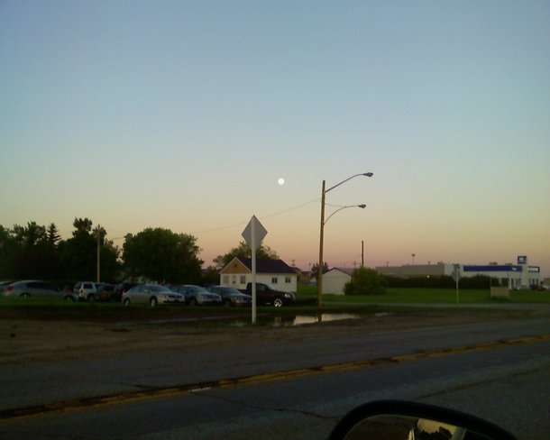 both the sun a7 the moon out this morning Brandon, Manitoba Canada
