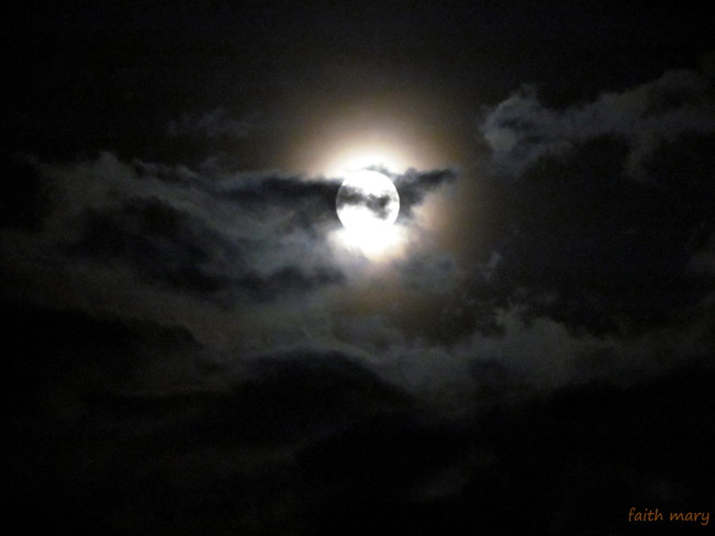Glowing Moon Amongst The Clouds Stoney Creek, Ontario Canada