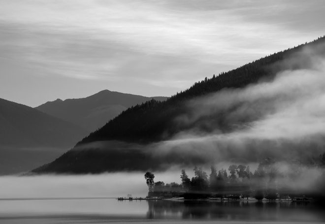 Early morning fog Nelson, British Columbia Canada