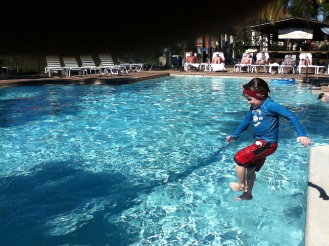 Denver jumping in the pool Orlando, Florida United States