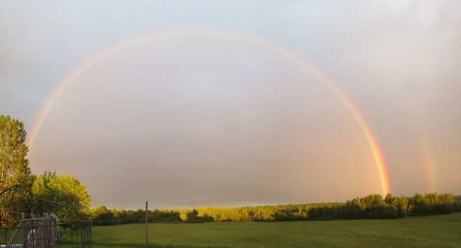 Double Rainbow over our meadow Jasper, Ontario Canada