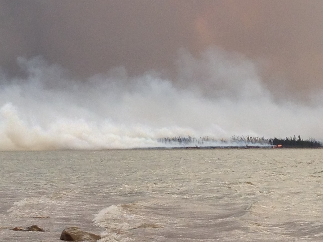 Forest Fire around South moscowt River Gillam, Manitoba Canada