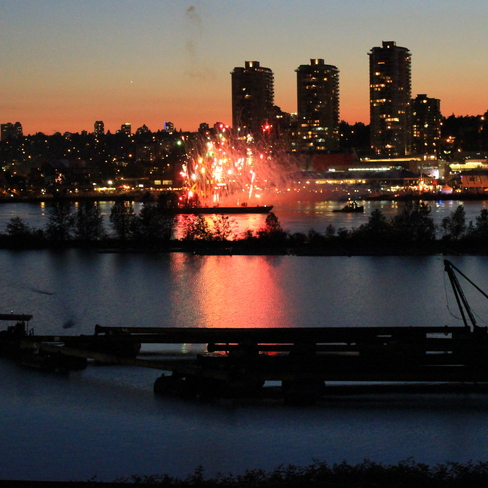 Canada Day barge fireworks Surrey, British Columbia Canada
