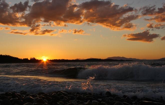 waves crashing at sunset Campbell River, British Columbia Canada