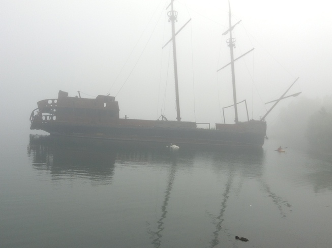 ship under the fog St. Catharines, Ontario Canada