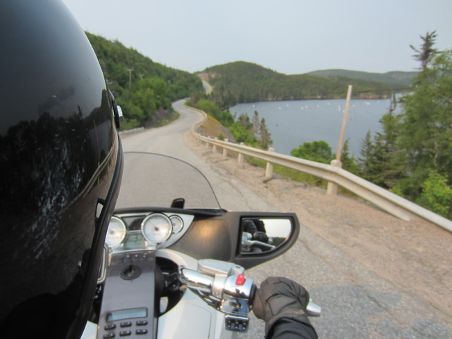 Motorcycle on a winding road Grand Falls-Windsor, Newfoundland and Labrador Canada