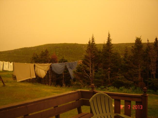 Forest Fire Smoke L'Anse au Clair, Newfoundland and Labrador Canada