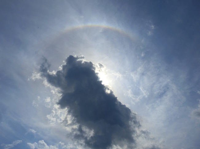 Cloud with rainbow semi circle Smiths Falls, Ontario Canada