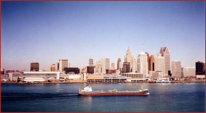 The Detroit River & Detroit Skyline (A FitzPic) Windsor, Ontario Canada
