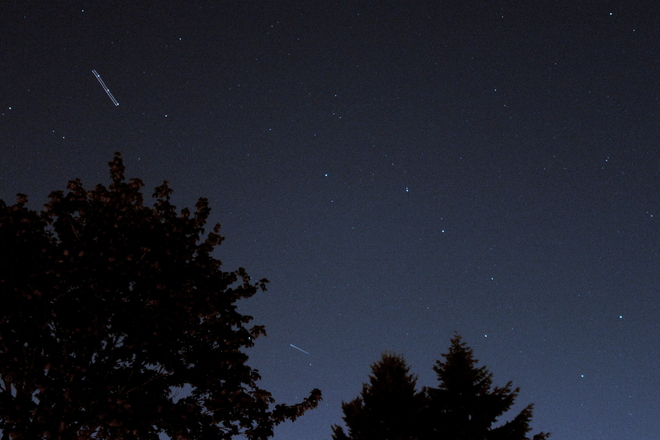 plane, satellite and the big dipper Greater Vancouver, British Columbia Canada