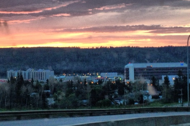 As night turns to morning Fort McMurray, Alberta Canada