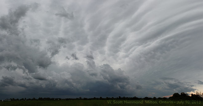 Mammatus clouds on the North side of the Storm Milton, Ontario Canada