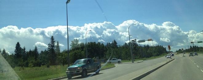 Cotton ball clouds Red Deer, Alberta Canada