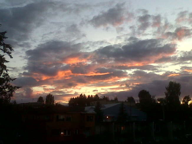 Pink and white clouds. Courtenay, British Columbia Canada