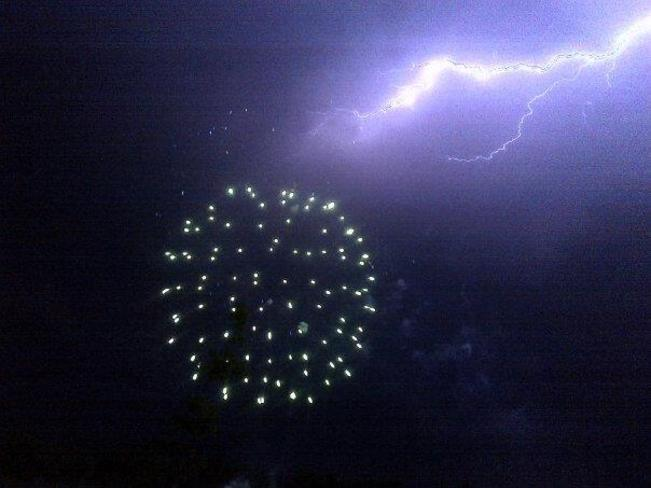 patio-Fireworks and Lightening Carman, Manitoba Canada