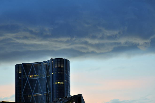 Ominous clouds over the Bow Calgary, Alberta Canada