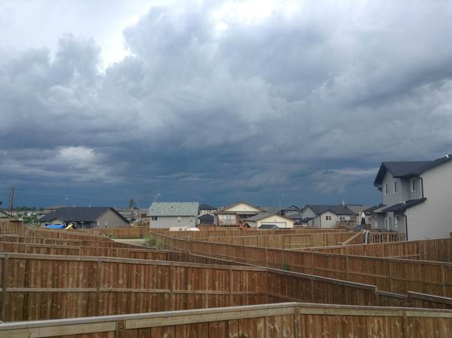possible funnel clouds forming Blackfalds, Alberta Canada