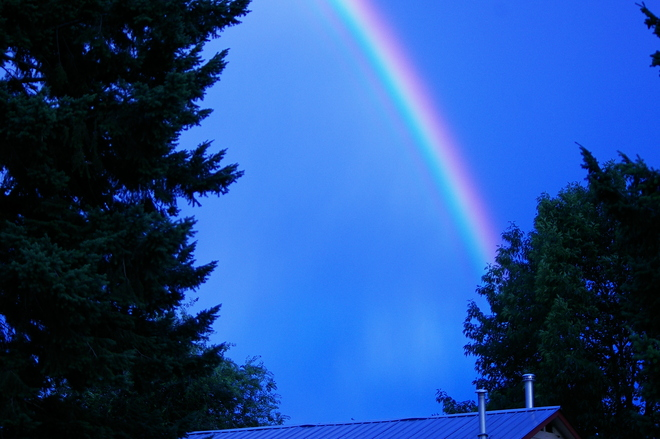 Rainbow in a deep blue sky Kelowna, British Columbia Canada